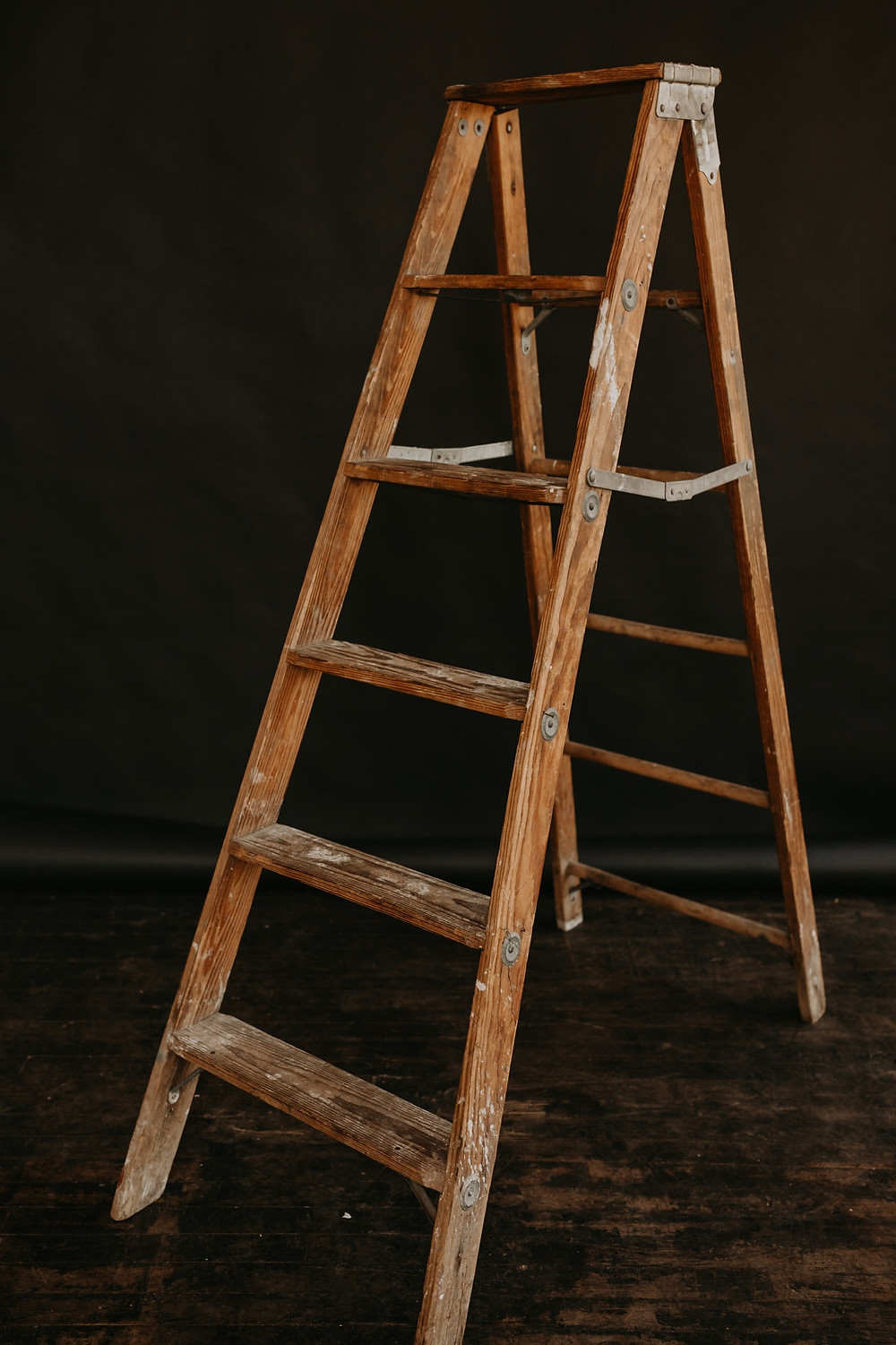 Wooden ladder at Studio Detroit. Photographed by Nicole Leanne Photography