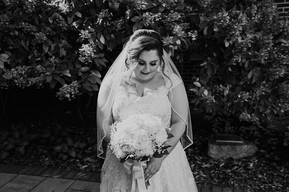 Black and white bridal portrait. Photographed by Nicole Leanne Photography.