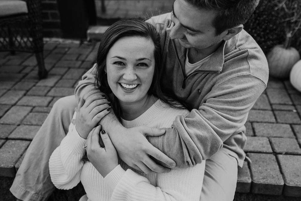 Black and white engagement photos at home in Metro Detroit. Photographed by Nicole Leanne Photography.
