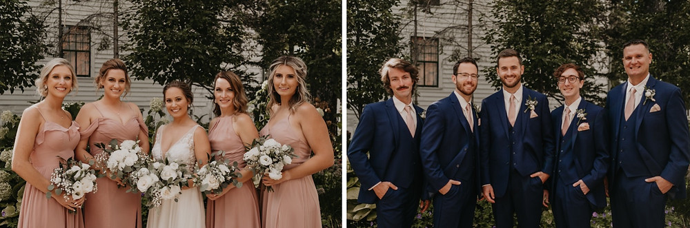Wedding party with bride and groom at Mackinac wedding. Photographed by Nicole Leanne Photography.