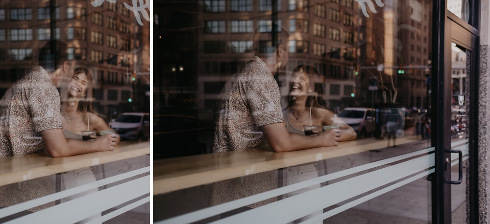Couple photographed through window of Detroit coffee shop. Photographed by Nicole Leanne Photography.