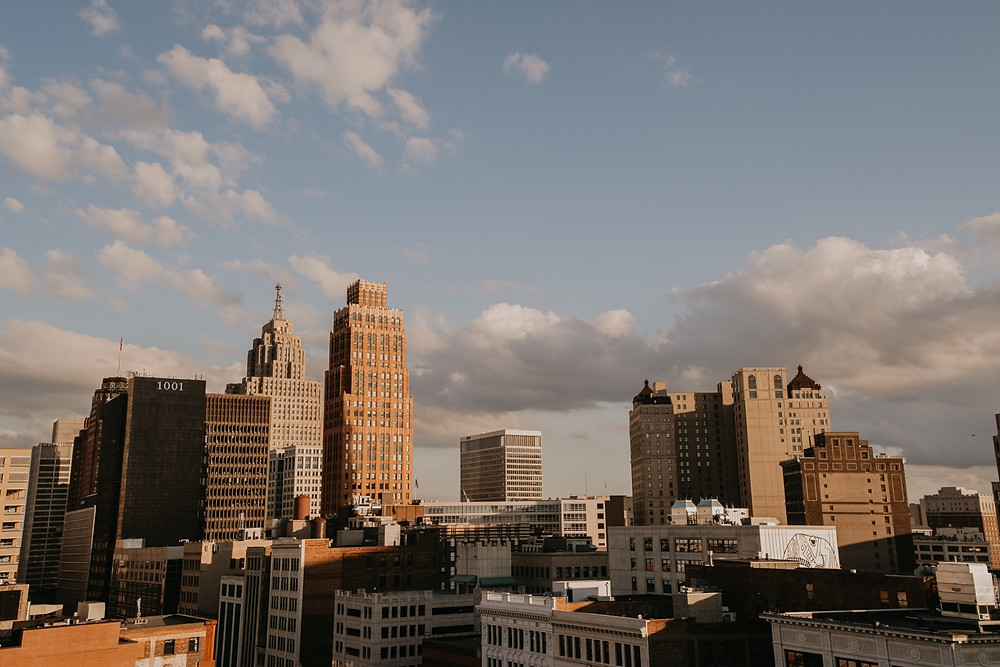 Downtown Detroit skyline. Photographed by Nicole Leanne Photography.