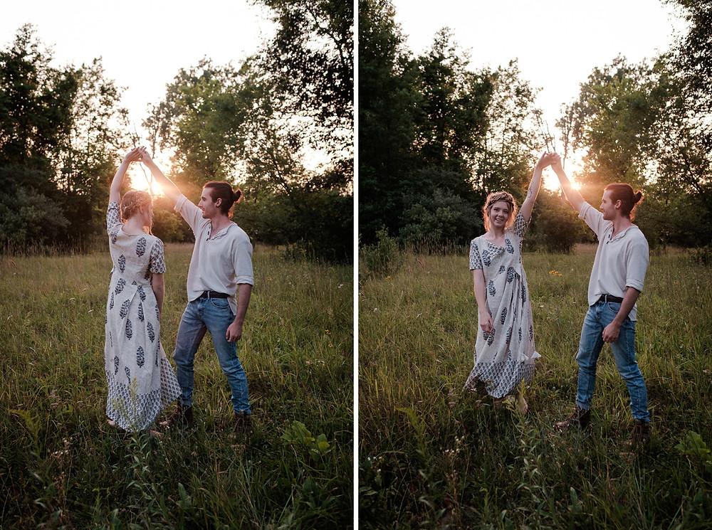 dancing in the grass, bohemian wedding