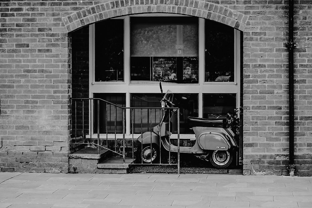 england, black and white, motor bicycle