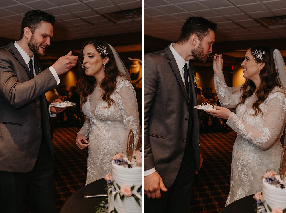 Bride and groom sharing wedding cake. Photographed by Nicole Leanne Photography.