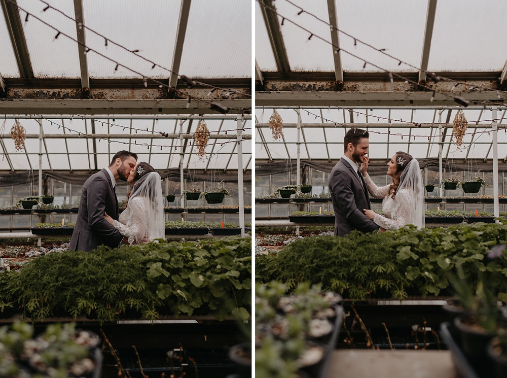 Bride and Groom see each other for first time in greenhouse first look. Photographed by Nicole Leanne Photography.