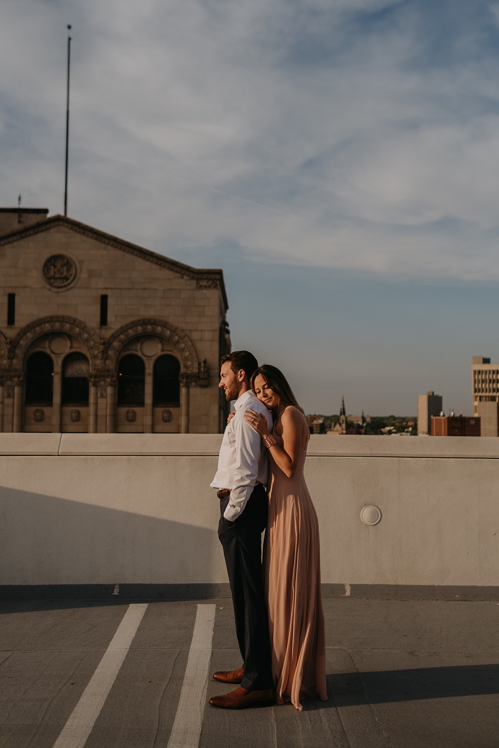 Engagement photos in downtown Detroit. Photographed by Nicole Leanne Photography.