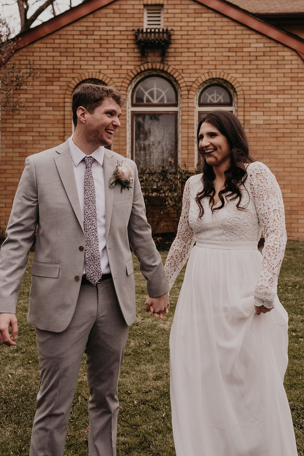 Married couple at Victoria Wedding Chapel in Metro Detroit. Photographed by Detroit wedding photographer Nicole Leanne Photography