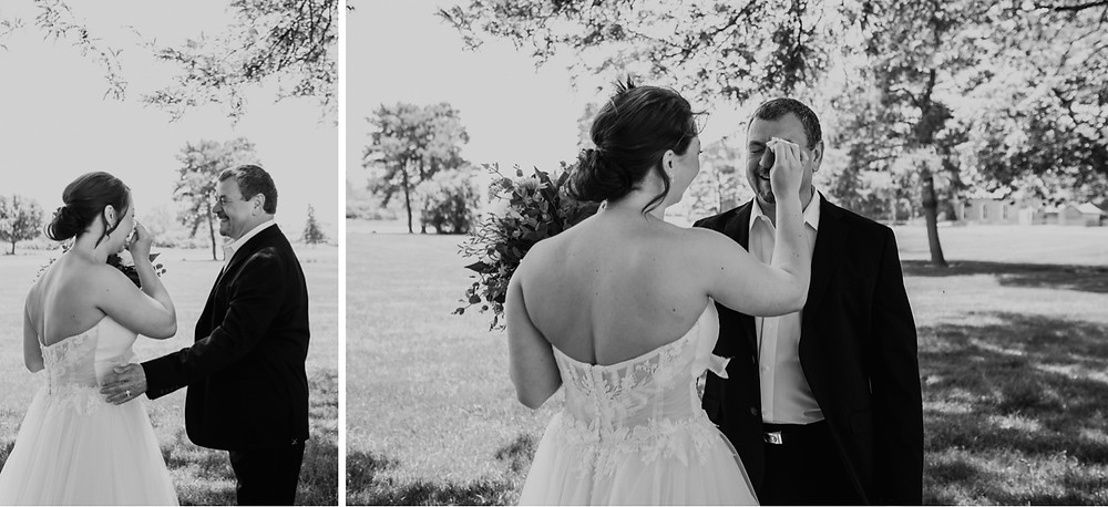 Bride and father first look on wedding day. Photographed by Nicole Leanne Photography.