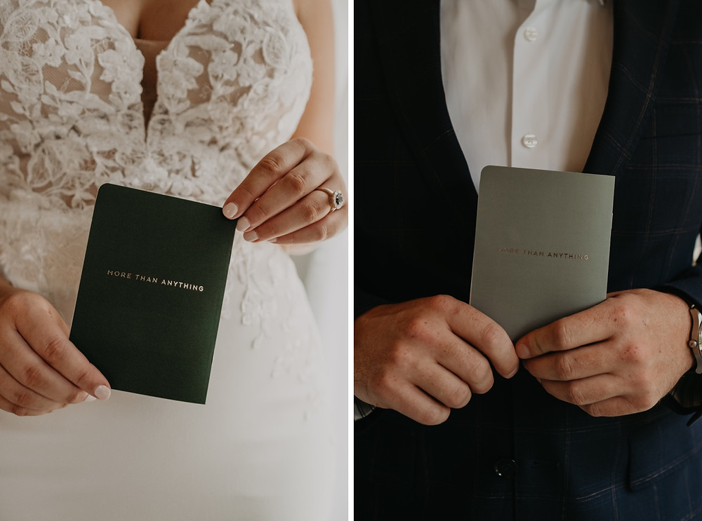 Bride and groom holding love letter books on wedding day. Photographed by Nicole Leanne Photography.