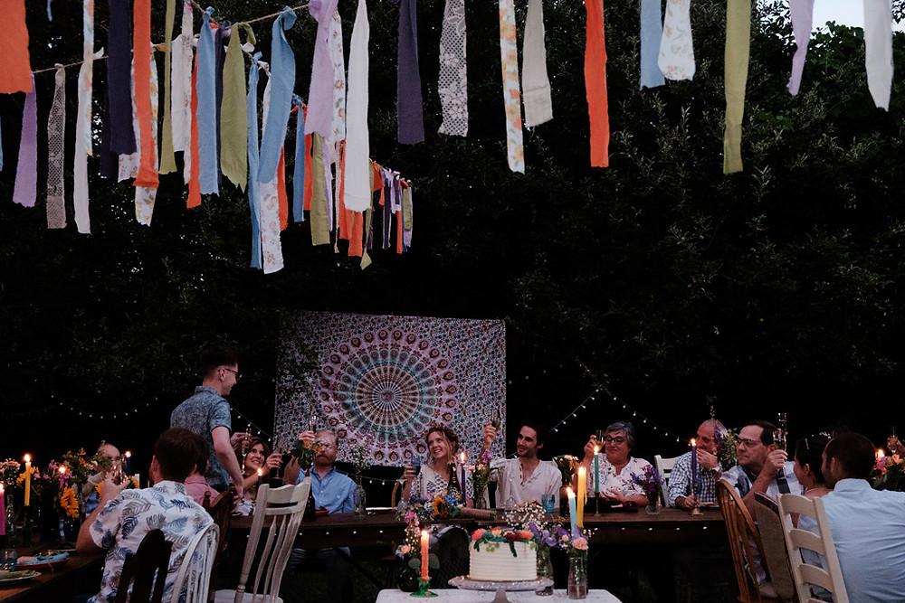 speeches, backyard reception