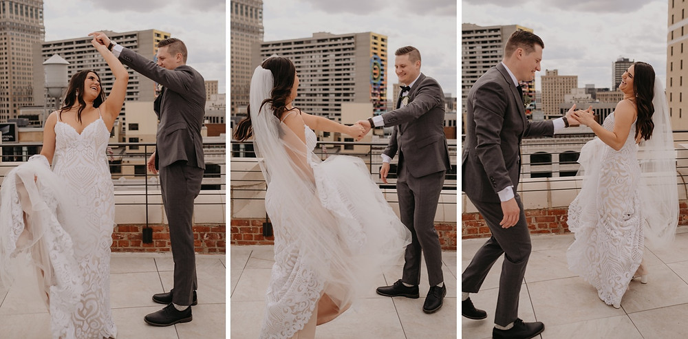 Bride and groom dancing on the rooftop at The Monarch Club. Photographed by Nicole Leanne Photography.