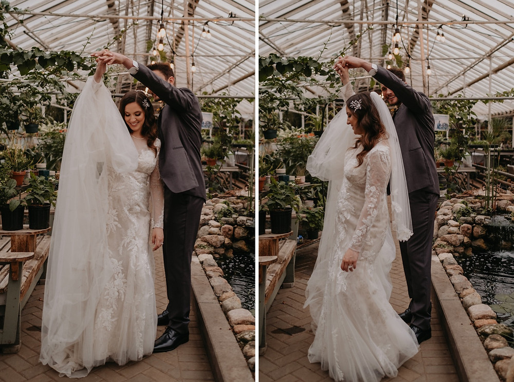 Bride and Groom dancing in a greenhouse at Graye's. Photographed by Nicole Leanne Photography.