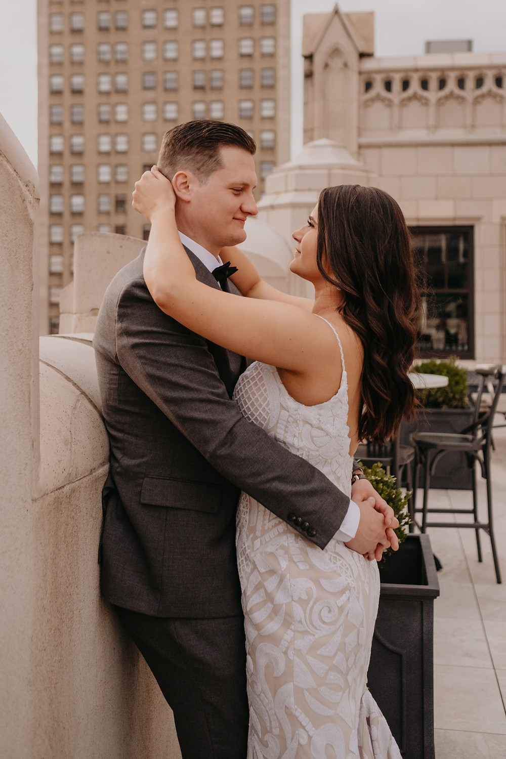 Wedding day photos on Downtown Detroit rooftop.