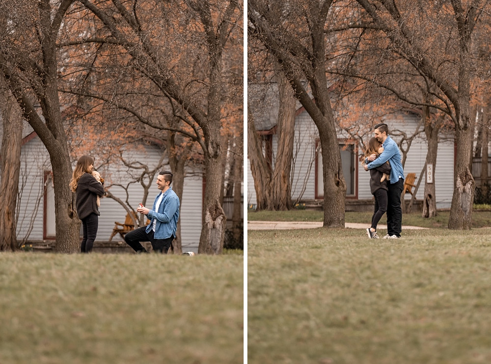 Wedding proposal at a park in Royal Oak, Michigan. Photographed by Nicole Leanne Photography