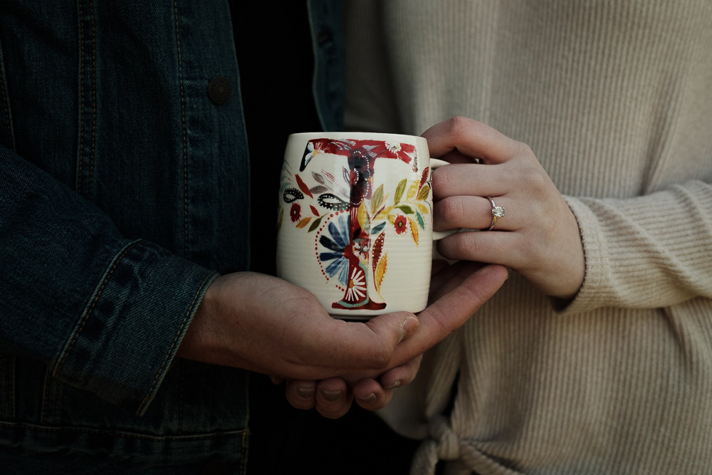Detroit engagement session using prop of coffee mug