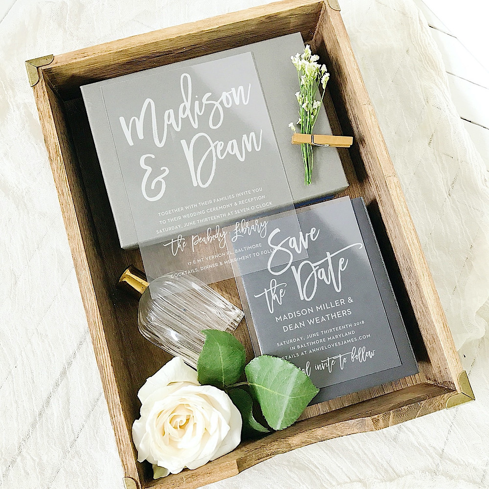 custom unique clear wedding invitations and save the dates