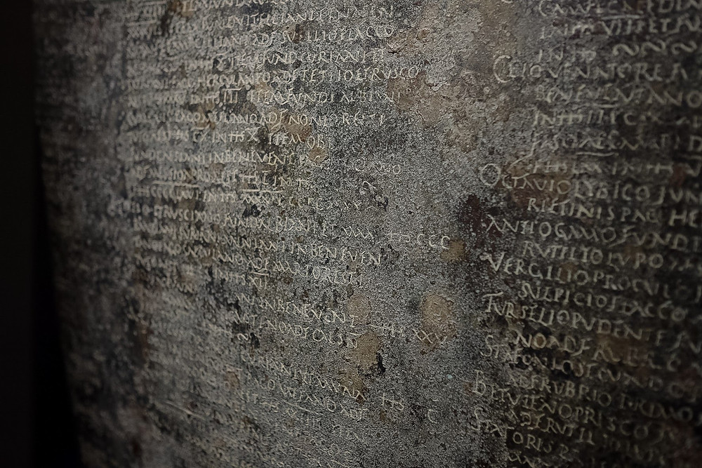 Baths of Diocletian, writing on tablet