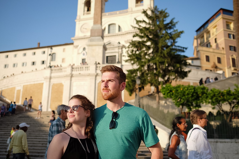 looking towards the sun at the spanish steps