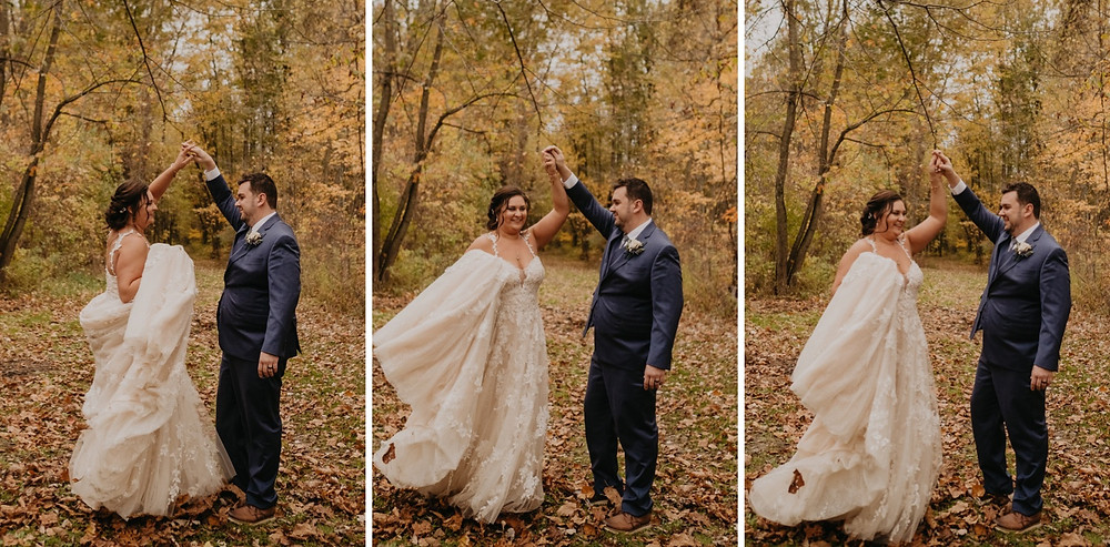 Bride and groom wedding photos in fall foilage