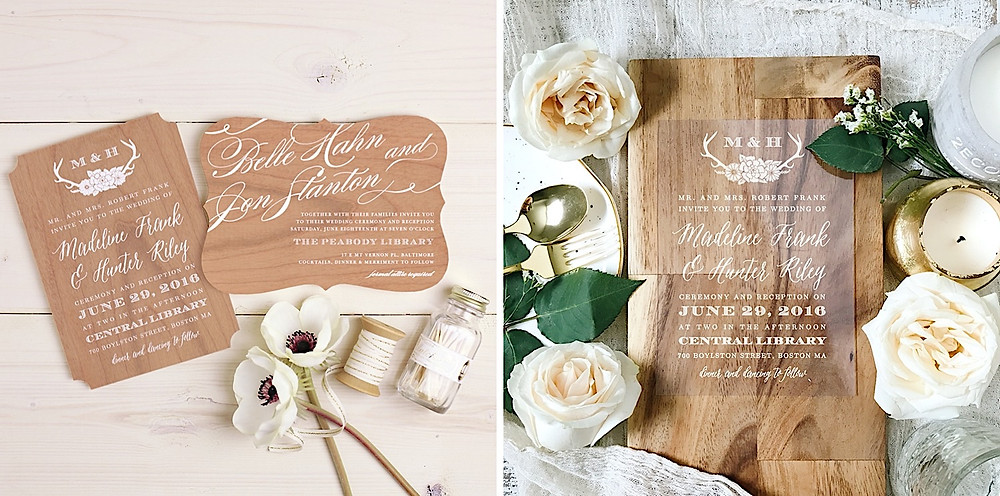 real wood and clear wedding invitations