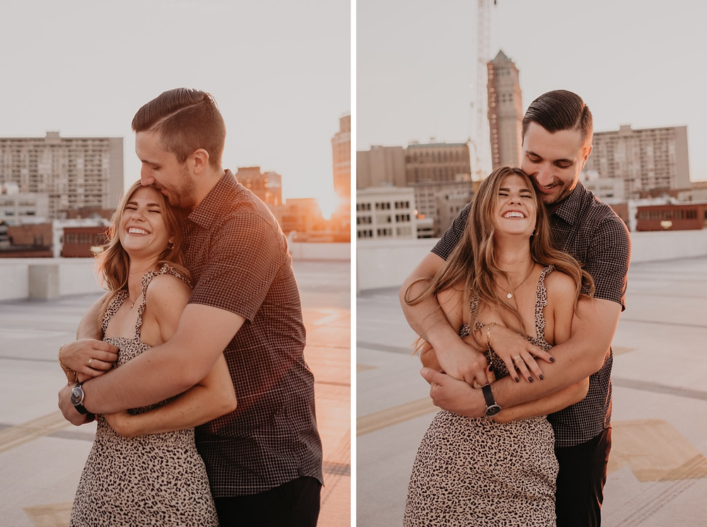 Rooftop in Detroit at sunset engagement photos. Photographed by Nicole Leanne Photography.