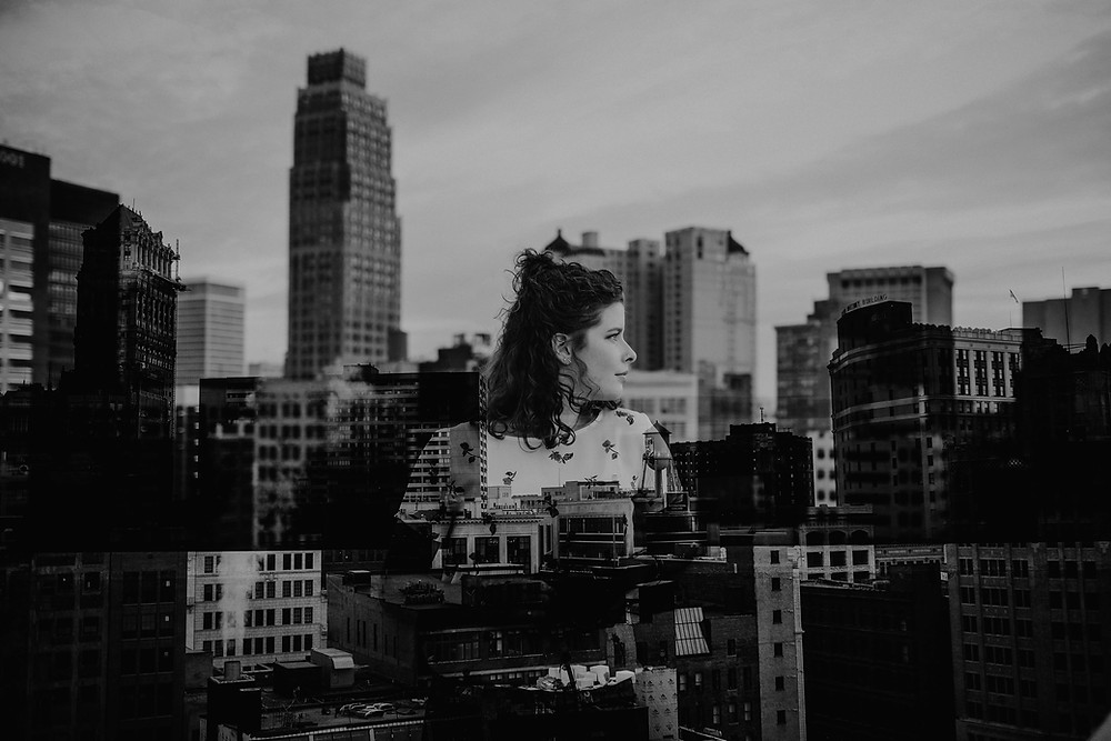 Double exposure of Downtown Detroit and Nicole Leanne Photography. Photographed by Nicole Leanne Photography.