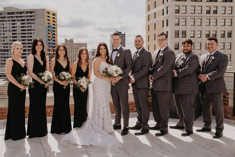 Wedding party on the rooftop of The Monarch Club. Photographed by Nicole Leanne Photography.