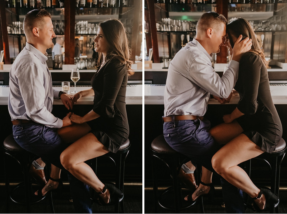 Detroit engagement photos at The Monarch Club. Photographed by Nicole Leanne Photography.
