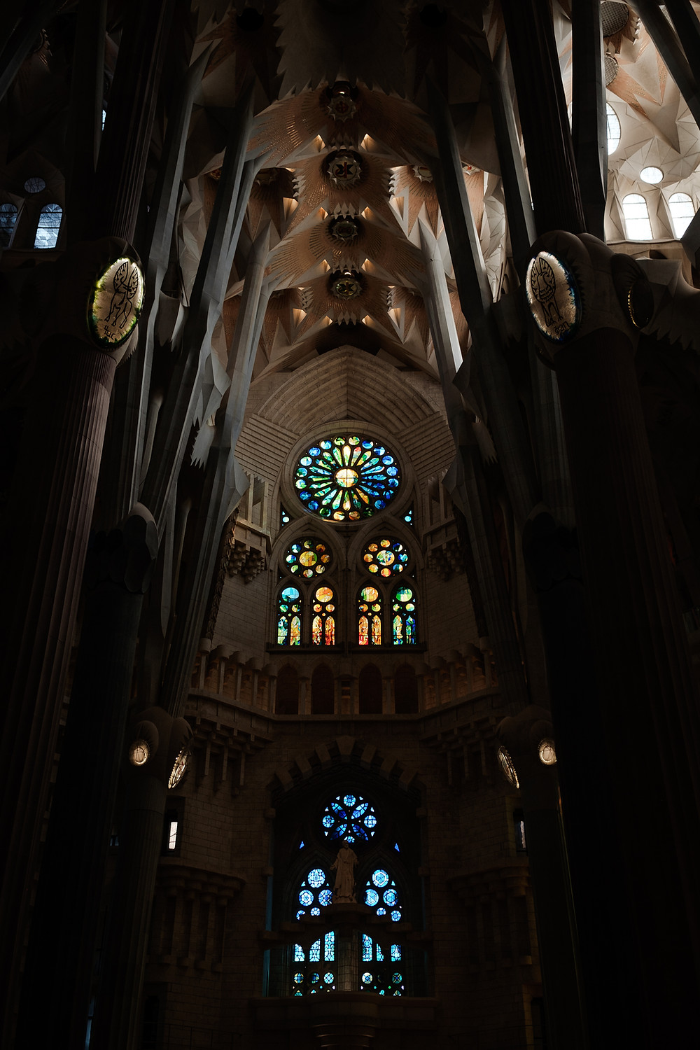Inside Barcelona cathedral with stained glass windows. Photographed by Nicole Leanne Photography.