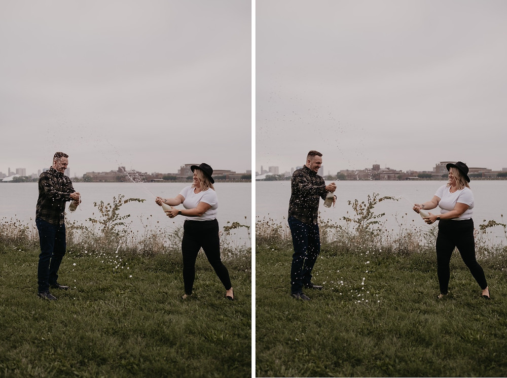 Champagne explosion after Detroit proposal. Photographed by Nicole Leanne Photography.