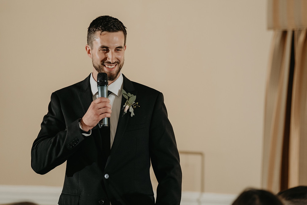 Speeches at wedding reception. Photographed by Nicole Leanne Photography.