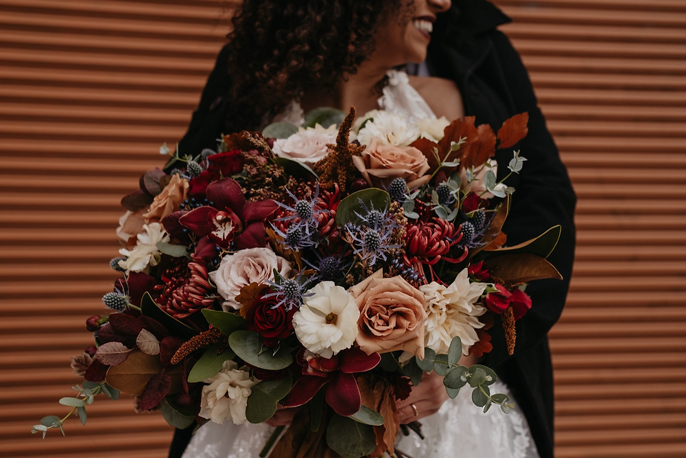 Bridal bouquet at Eastern Market. Photographed by Nicole Leanne Photography.