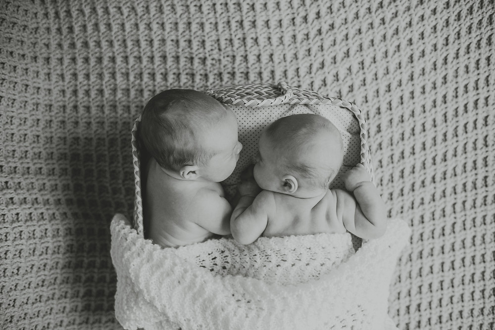 Twin boys, knitted blanket, black and white