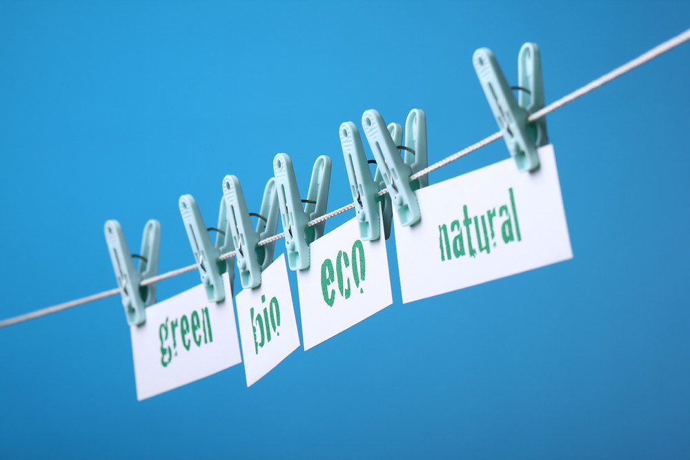 This images shows the greenwashing concept namely: green, bio, eco, and natural