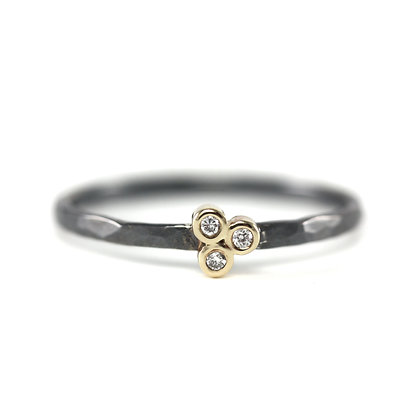 Three Diamond Oxidized Stack Ring