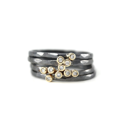 Mixed Oxidized Diamond Stack Rings (3 styles)
