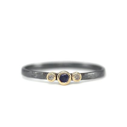 Oxidized Diamond and Gemstone Stack Ring