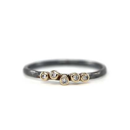 Five Diamond Oxidized Stack Ring
