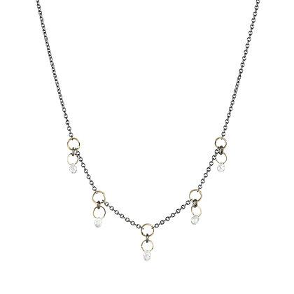 Five Diamond Briolette Dangle Necklace