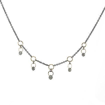 Five Grey Diamond Briolette Dangle Necklace