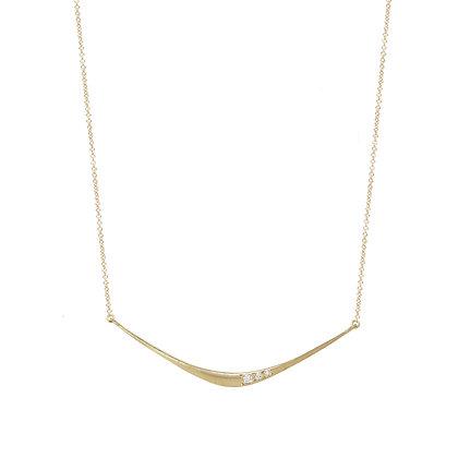Three Diamond Forged Bar Necklace