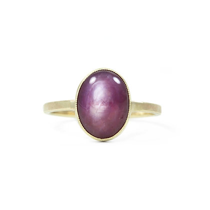14k yellow gold, star ruby, large oval, ruby ring, ruby and gold, Jen Leddy Studios, made in Texas