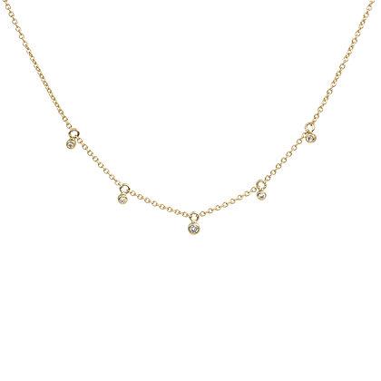 Five Diamond Bezel Drop Necklace