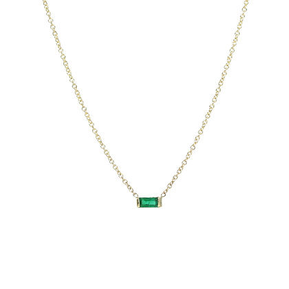 Minimal Emerald Baguette Necklace