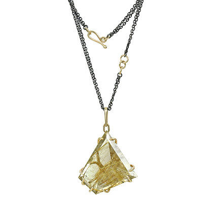 Long Webbed Claw Rutilated Quartz Statement Necklace
