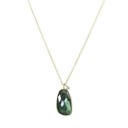 14k yellow gold, green tourmaline, white diamond, handmade, gemstone necklace, Jen Leddy Studios, made in Texas