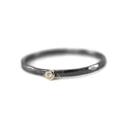 One Diamond Oxidized Stack Ring