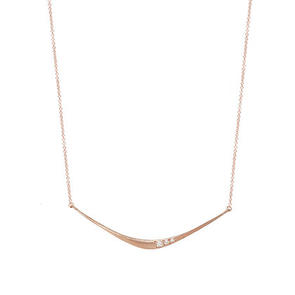 Three Diamond Forged Bar Necklace