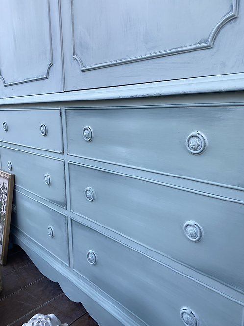 Light green painted large cupboard
